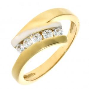 bceac6eb3 Zlaté dámske prstene z kombinovaného zlata s viacerými kamienkami ...